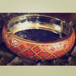 Jewelry - Enamel Orange and Red Geometric Boho Bangle